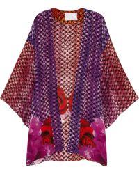 Athena Procopiou - Dusk At Majorelle Printed Silk Beach Robe - Lyst