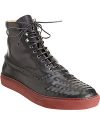 Alexander McQueen Rivet Textured High Top Sneaker - Lyst