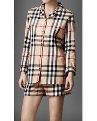 Burberry - Check Cotton Night Shirt - Lyst