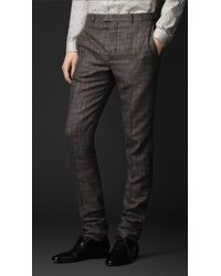 Burberry Prorsum Slim Fit Check Trousers - Lyst