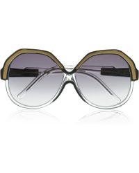 Linda Farrow Luxe Geometric Roundframe Acetate Sunglasses - Lyst