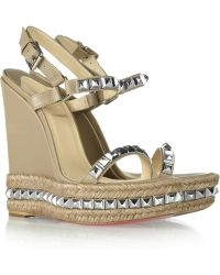 Christian Louboutin Cataclou 140 Studded Leather Wedge Sandals - Lyst