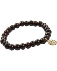 Devon Page Mccleary - Sandalwood Bead Bracelet with Diamond Angel Charm - Lyst
