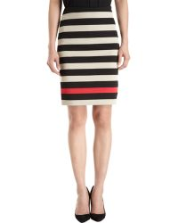 Diane Von Furstenberg Double Knit Striped Skirt - Lyst