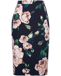 Dolce & Gabbana Rose Print Pencil Skirt - Lyst