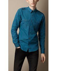 Burberry Brit - Cotton Poplin Military Shirt - Lyst