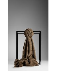 Burberry Check Cotton Cashmere Scarf - Lyst