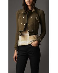 Burberry Cropped Leather Detail Jacket - Lyst