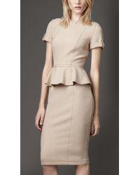 Burberry Tailored Pleat Peplum Dress - Lyst