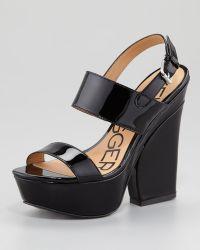 Pour La Victoire - Holly Patent Leather Wedge Sandal - Lyst