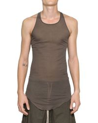 Rick Owens Finely Ribbed Cotton Tank Top - Lyst