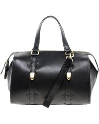 River Island Black Hard Leather Bowler Bag - Lyst