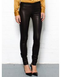 Theory Black Leather Leggings - Lyst