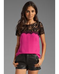 Milly Solid Silk Georgette Top - Lyst