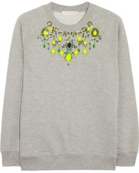 Matthew Williamson Embellished Cottonjersey Sweatshirt - Lyst