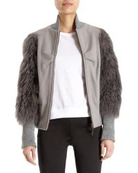 Icb - Bomber Jacket with Mongolian Lamb Sleeves - Lyst