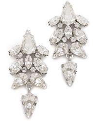 Jenny Packham Tesoro Earrings Iv - Rhodium - Lyst