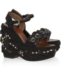 Marni Crystal and Beadembellished Crepe Wedge Sandals - Lyst
