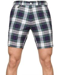 Ralph Lauren Blue Label - Checked Cotton Poplin Slim Fit Shorts - Lyst