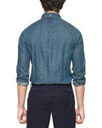 Ralph Lauren Blue Label - Cotton Chambray Logo Slim Fit Shirt - Lyst