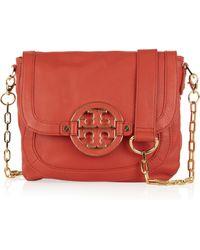 Tory Burch Amanda Leather Shoulder Bag red - Lyst