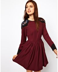 ASOS Collection Skater Dress with Shoulder Detail - Lyst