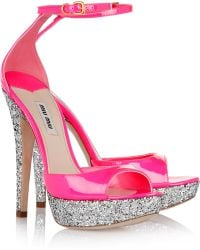 Miu Miu Glitterfinished Patentleather Sandals - Lyst