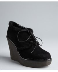 Saint Laurent Lace Up Shearling Wedges - Lyst