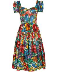 Dolce & Gabbana Floral Print Cotton Dress - Lyst