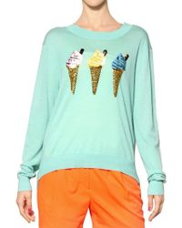 Markus Lupfer Sequin Ice Cream Fine Wool Knit Sweater - Lyst