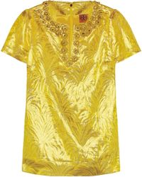Tory Burch Lola Embellished Silkblend Brocade Top - Lyst