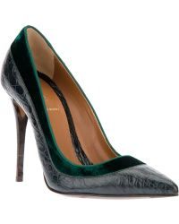 Fendi Velvet Trim Pointed Toe Pump - Lyst