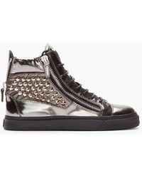 Giuseppe Zanotti Metallic Green Studded London Sneakers - Lyst