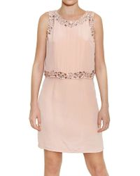 John Galliano Jeweled Silk Crepe De Chine Dress pink - Lyst