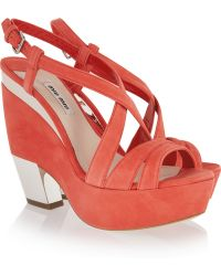 Miu Miu Metallictrimmed Wedge Sandals - Lyst