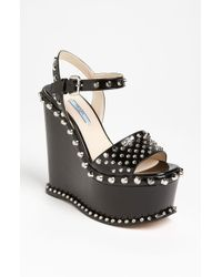 Prada Studded Wedge Sandal - Lyst