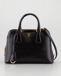Prada Saffiano Vernice Promenade Crossbody Bag black - Lyst