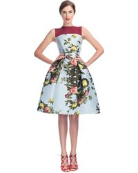 Carolina Herrera Rose Painting Jacquard Sleeveless Party Dress - Lyst