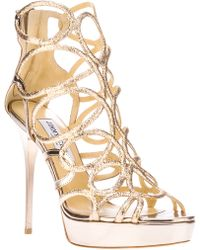 Jimmy Choo Metallic Strappy Platform Shoe - Lyst
