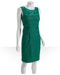 BCBGMAXAZRIA Ultra Green Stretch Cotton Lace Alice Shift Dress - Lyst