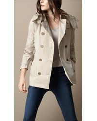 Burberry Brit - Short Cotton Nylon Gabardine Detachable Hood Trench Coat - Lyst