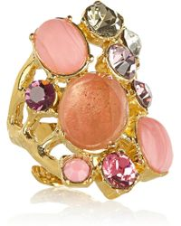 Emilio Pucci - Gold Plated Quartz and Crystal Ring - Lyst