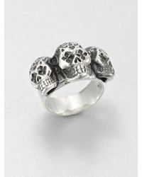 King Baby Studio Sterling Silver Triple Day Of The Dead Skull Ring - Lyst