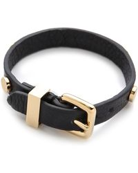 Marc By Marc Jacobs Turnlock Charm Leather Bracelet black - Lyst