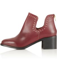 Topshop Accent Stud Cut Out Boots - Lyst