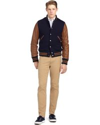 Brooks Brothers Bomber Jacket with Leather Sleeves - Lyst