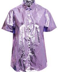 Burberry Prorsum - Metallic Coated cotton Shirt - Lyst