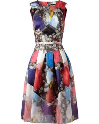 Christopher Kane Abstract Floral Printed Silk Dress multicolor - Lyst