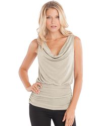 Guess Shimmering Cowl Neck Tank Top - Lyst