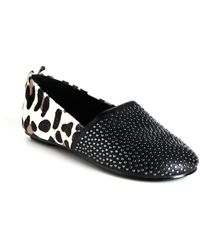 House Of Harlow 1960 Stud Kye Leather Calf Hair Flats - Lyst